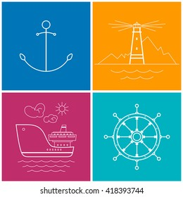 Set of Colorful Maritime Icons for Web Design, Anchor and Lighthouse Icon , Cargo Ship and Ship's Wheel ,  Vector Illustration