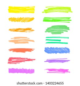 Set of colorful marker scribble lines and stains realistic style, vector illustration isolated on white background. Collection of hand drawn highlighter pen or felt tip strokes and traces