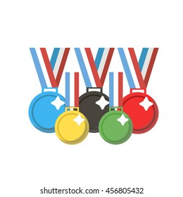 A set of colorful medals for sports and other activities. Medals laid out in the shape of the Olympic rings. Summer and winter sports games.