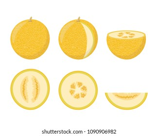 Set of colorful melon icons. The whole, half, cut into pieces. Design for the label, banner. Vector illustration.