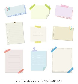 Set of colorful memo and papers