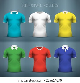 Set of colorful mockup of male t-shirts with different collars.