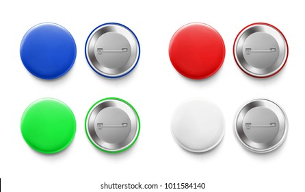 Set of colorful mockups of white badges. Vector realistic illustration on white background, ready and simple to use for your design.