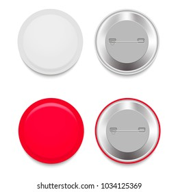 Set of colorful mockups of white badges. Vector realistic illustration