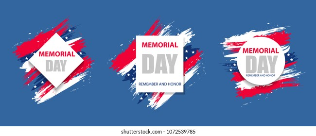 Set colorful modern background for Memorial Day USA. Dynamic design elements for a flyer, sale, brochures, presentations, party etc. Vector illustration.