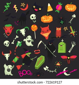 Set of colorful modern halloween stickers and icons. Vector isolated design elements for creating greeting cards, invitations, patterns and party posters