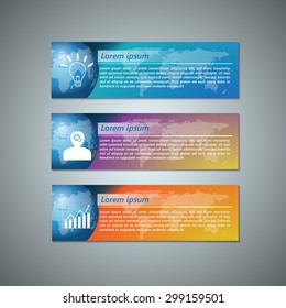 Set of Colorful Modern Text Box With Business Icon and Globe Dotted Background Design, For Banner, Website, Brochure, Business Infographics, Vector Illustration