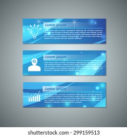 Set of Colorful Modern Text Box With Business Icon and Abstract Blue Background Design, For Banner, Website, Brochure, Business Infographics, Vector Illustration