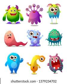 Set of colorful monsters, animator costume, comic character