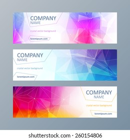 Set of colorful mosaic faceted web site banners templates.