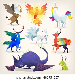 Set of colorful mythological fantasy creatures from all over the world