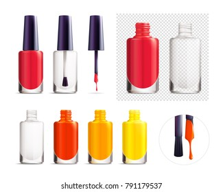 Set of colorful nail polish containers mockup isolated on white and transparent background with black cap. Empty and full round polish bottle. Realistic vector illustration.