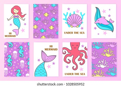 set of colorful nautical cards. child's illustration. mermaid. undersea world
