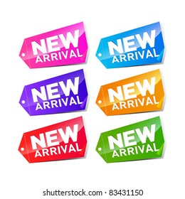 set of colorful new arrival labels