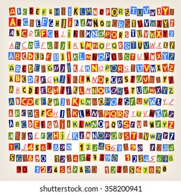Set of colorful newspaper cut letters. 14 ways to combine alphabet in one style.
