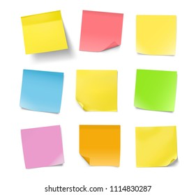Set of colorful note papers with curled corners isolated on white background. Vector illustration. Can be use for your design, presentation, promo, adv. EPS10.