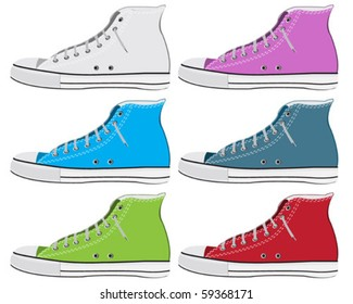 Set of colorful old sneaker
