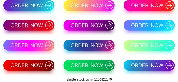 Set of colorful order now buttons with arrow isolated on white background. Vector illustration.