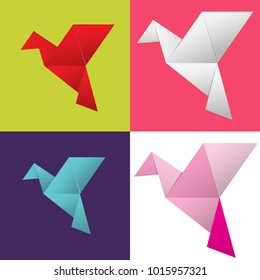 Set of colorful Origami bird or flight vector. concept of business, plane flying,freedom and lifestyle