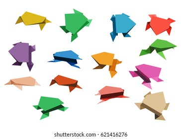 Set of colorful origami frogs