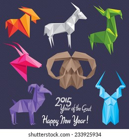 Set of colorful origami goats - symbols of 2015 New Year