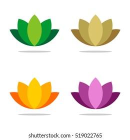 Set Colorful Ornamental Flower vector logo template Illustration Design. Vector EPS 10.