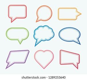 Set of colorful outline speech bubbles