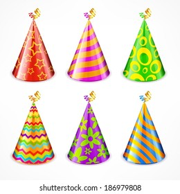 Set of colorful party hats with decorations on white, vector illustration