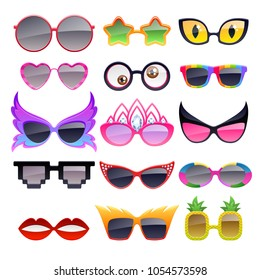 Set of colorful party sunglasses icons. Funny fashion glasses accessories.