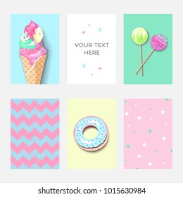 Set of colorful pastel cards with ice cream, donut and lolipops. Fashion trendy template with place for text, minimalism concept. Vector illustration for birthday party with dots and zig-zag texture.