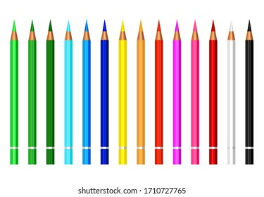 set of colorful pencil color isolated on white background,equipment for art,stationery paint and drawing for children