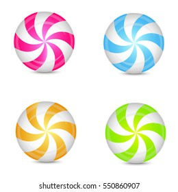 Set of colorful peppermint candies. Vector.