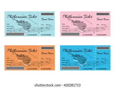 Set of Colorful Philharmonic Tickets with Violin and Musical Notes. Vector Illustration EPS10