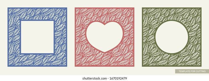 Set of colorful photo frames with a hole in the shape of a circle, heart, square. Lace floral ornament with leaf patterns. Template for laser cutting, metal engraving, wood carving, paper cut. Vector.