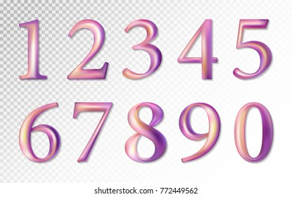 Set of colorful pink lilac vector numbers, from 0 to 9. Vector image. Transparent background.