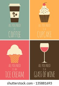 A set of colorful posters with coffee, chocolate, ice cream and red wine.