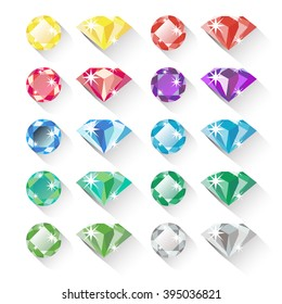 Set of colorful precious gem icons in flat style with long shadows. Ten precious gems in different colors and two shapes each. Flat design icons, isolated on white. Vector illustration