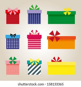 Set of colorful presents