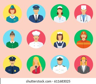 Set of colorful profession people flat icons. Different people professions characters set. Stewardess, pilot, fireman, teacher, cook, maid, doctor, nurse, captain, singer, communication operator.