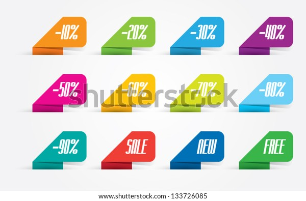Set of Colorful Promotional Labels