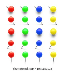Set of colorful push pins in different foreshortening. Vector illustration on white background. Can be use for your design, promo, ad. EPS10.