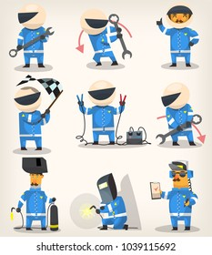 Set of colorful racing participants, champions, engineers and pit stop workers. Vector illustrations