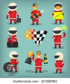 Set of colorful racing participants, champions, engineers and pit stop workers