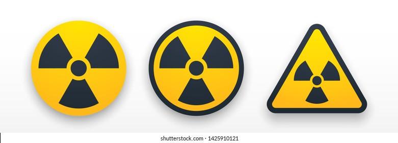 Set colorful radiation symbols. Radiation warning. Radiation web icons with shadow. Vector illustration. EPS 10