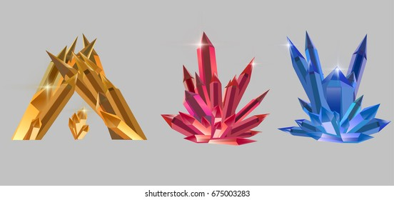 Set of colorful realistic 3D crystals, transparent background. Semi-precious stones, gems, garnet, emerald, ruby. Vector illustration, high detailed jewels. Abstract Presentation logo cristal. EPS 10