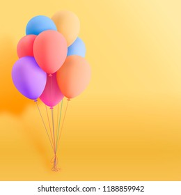 Set of colorful realistic mat helium balloons floating on yellow background. Vector 3D balloons for birthday, party, wedding or promotion banners or posters. Vivid illustration in pastel colors.