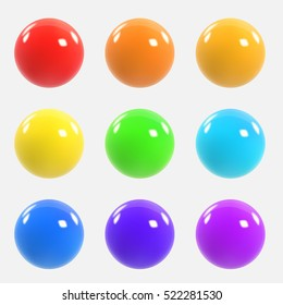Set of colorful realistic spheres. Colorful three-dimensional balls. Vector illustration for your graphic design.