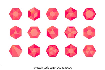 Set of colorful red isometric hexagonal gems (rubies, diamonds, brilliants, sapphires, stones) in geometry style for the game, icon or your company logo