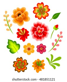 Mexican flowers images stock photos vectors shutterstock set of colorful red and yellow flowers in mexican style mightylinksfo