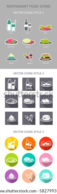 Set of colorful restaurant menu food icons. Eps 10 vector. Flat style food icons collection. Vector icons in three styles.